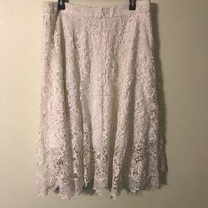 Eloquii Studio White Lace Midi Skirt